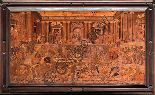 """Genova, Duomo (Cattedrale di S. Lorenzo), interno, abside, coro, lato sud: """"La strage degli Innocenti"""", tarsia lignea di Giovanni Francesco Zambelli (secolo XVI)."""