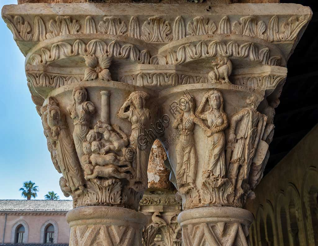 "Monreale, Duomo, the cloister of the Benedectine monastery (XII century): the Northern side of capital N24 (""The Massacre of Innocents"")."