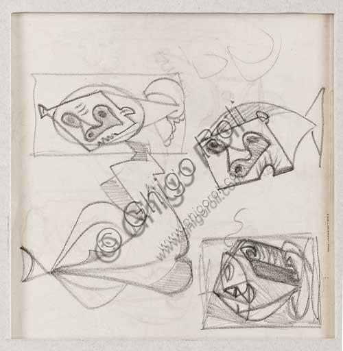 """Assicoop - Unipol Collection: Enrico Prampolini (1894 - 1956), """"Study of heads"""", back. Matita e pastello su carta."""