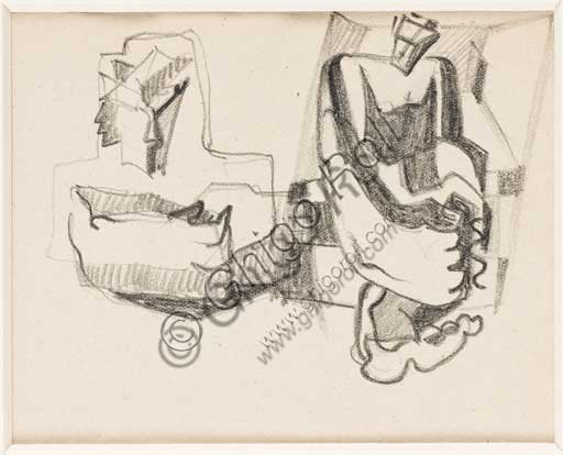 "Assicoop - Unipol Collection: Enrico Prampolini (1894 - 1956), ""Study for cosmic figures"". 1941? Pencil on paper."
