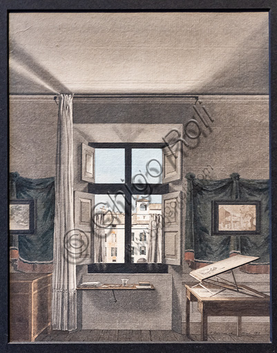 "Giovanni Battista De Gubernatis: ""The painter's studio in Parma"", 1812, watercolour and China watercoloured ink."