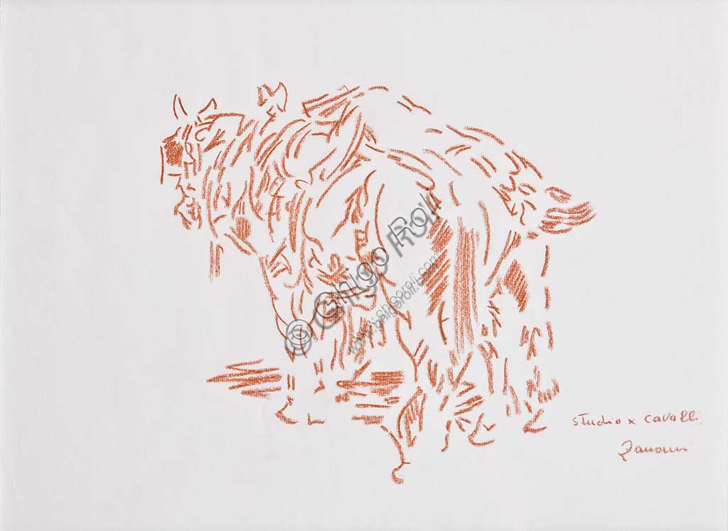 "Assicoop - Unipol Collection:Remo Zanerini, ""Study for a Horse"", sanguine (red pastel)"
