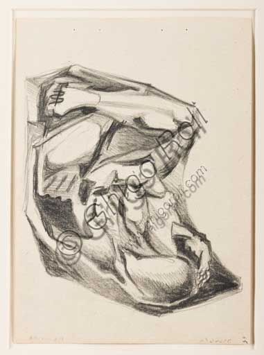 "Assicoop - Unipol Collection: Enrico Prampolini (1894 - 1956), ""Study for a figure on a sculpted drape"". Pencil on paper."