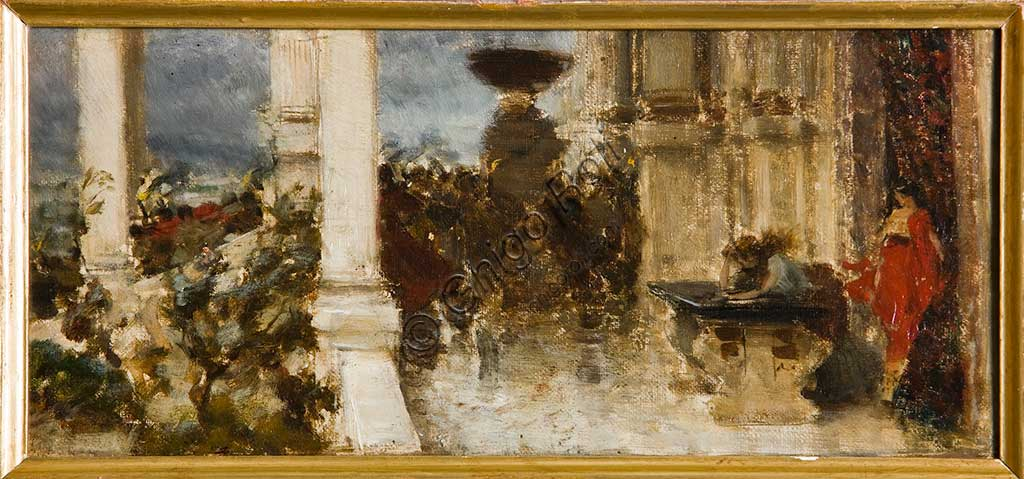 "Assicoop - Unipol Collection: Giovanni Muzzioli (1854 - 1894), Study for "" The Britannicus' Funeral"", oil painting."