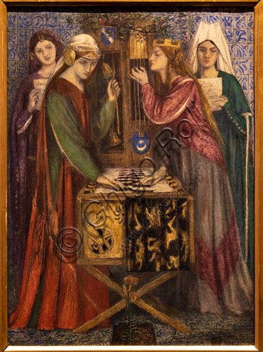 """The Blue Closet"", (1857) by Dante Gabriel Rossetti (1828-1882); watercolour on paper."