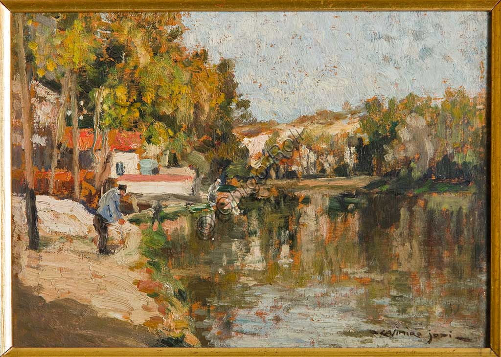 "Assicoop - Unipol Collection: Casimiro Jodi, ""On the Canal""; oil painting."