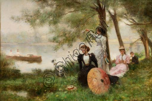 """Collezione Assicoop - Unipol: Alberto Pisa (Ferrara, 1864 - 1903), """"Sul Tamigi"""", olio su tela."""