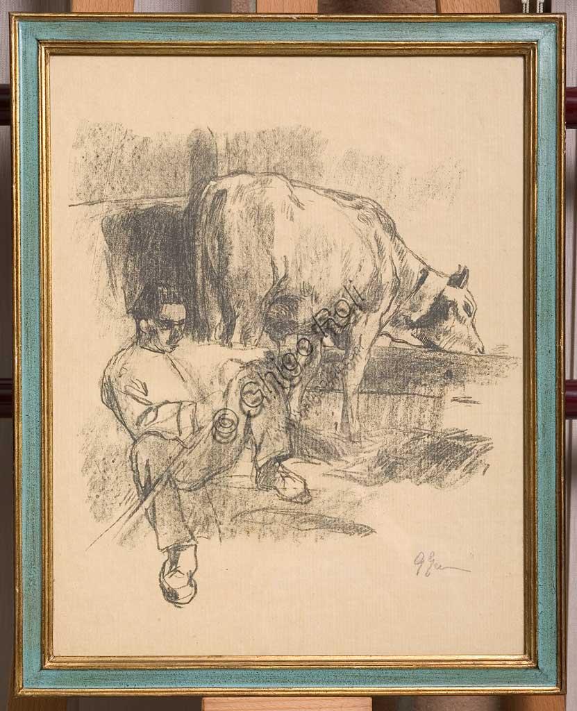 """Collezione Assicoop - Unipol: Giuseppe Graziosi (1879-1942), """"Contadino seduto e mucca alla mangiatoia"""", litografia su carta su carta."""