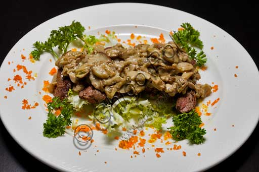 Sliced steak with porcino mushrooms.