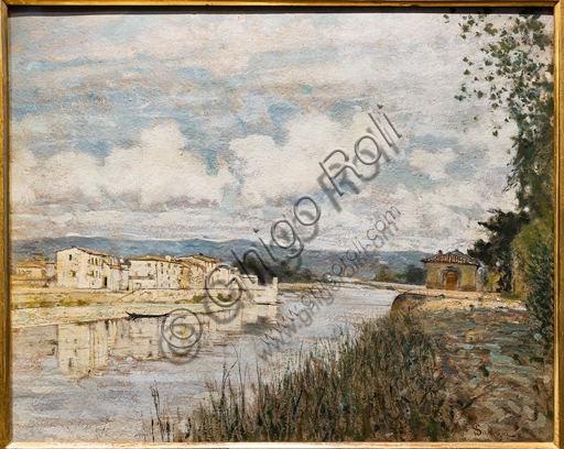 "Telemaco Signorini: ""Border on the Arno"",  1890, oil painting on cardboard."