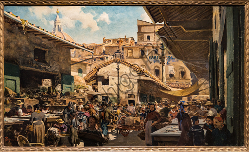 """Telemaco Signorini: """"The Old Market """", 1882-3, oil painting on canvas."""