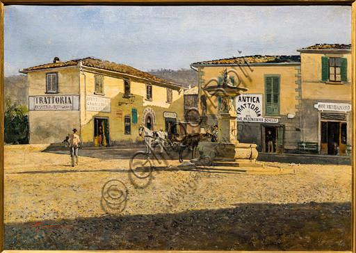 """Telemaco Signorini: """"Square in Settignano"""",  about 1861, oil painting on canvas."""