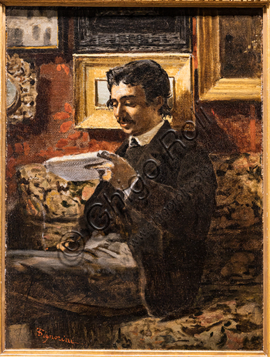 "Telemaco Signorini: ""Reading Man "", 1868-70, oil painting on canvas."