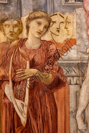 """""""The temple of Love"""", 1872 by Edward Coley Burne - Jones  (1833 - 1898); oil painting on canvas. Detail."""
