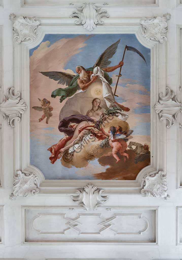"Villa Loschi  Motterle (formerly Zileri e Dal Verme),the staircase, the ceiling: ""Time discovers the Truth"", allegorical fresco by Giambattista Tiepolo (1734)."