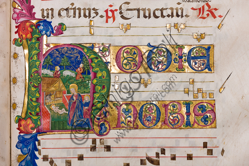 ", Genova, the Diocesan Museum: Antiphonary ""de tempore"", from the first Sunday of Advent; membranaceous manuscript N 1, C.118, paper 23 recto with miniature of the Nativity. Genoa illuminators, 1472 - 1482.Detail."