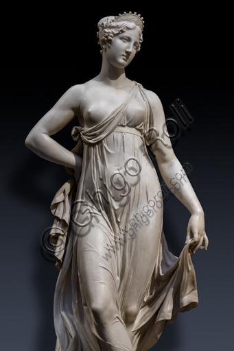 """""""Tersicore danzante (Danzatrice)"""", 1820, di Gaetano Matteo Monti (1776 - 1847), marmo.  Particolare."""