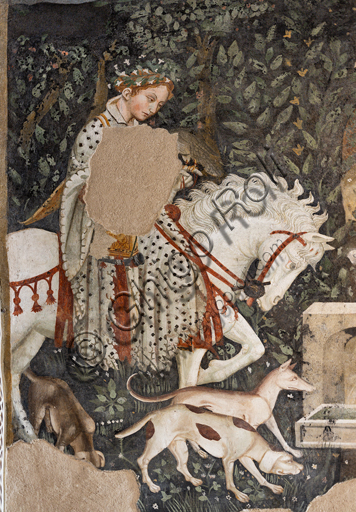 Spoleto, Rocca Albornoz (Stronghold), Camera Pinta (Painted Room): detail with a riding lady of court and dogs of the frescoes realized between 1392 and 1416, representing courtly and chivalrous subject, made by local painters (with reference to the group connected to the Master of the Dormitio of Terni) or of Padanian origin.