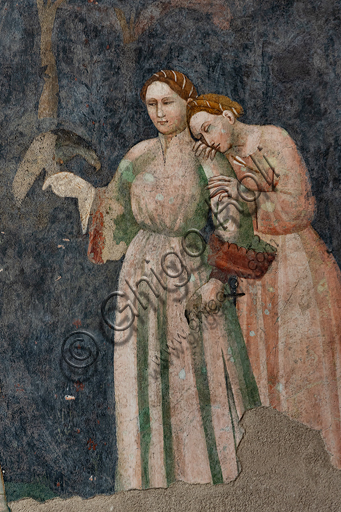 Spoleto, Rocca Albornoz (Stronghold), Camera Pinta (Painted Room): detail with two ladies of the frescoes realized between 1392 and 1416, representing courtly and chivalrous subject, made by local painters (with reference to the group connected to the Master of the Dormitio of Terni) or of Padanian origin.
