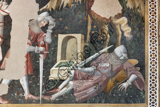 """Spoleto, Rocca Albornoz (Stronghold), Camera Pinta (Painted Room): detail of the frescoes realized between 1392 and 1416, representing courtly and chivalrous subject, made by local painters (with reference to the group connected to the Master of the Dormitio of Terni) or of Padanian origin. The paintings are based on the poem """"Teseida"""" by Boccaccio.Scene with two knights and a horse."""