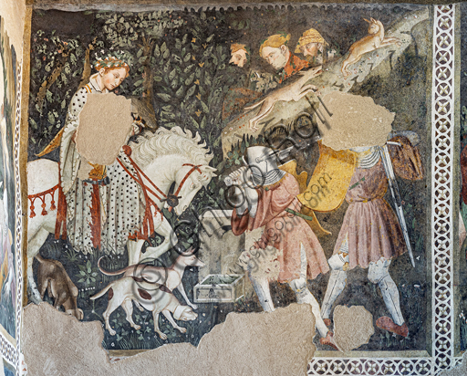 Spoleto, Rocca Albornoz (Stronghold), Camera Pinta (Painted Room): detail of the frescoes realized between 1392 and 1416, representing courtly and chivalrous subject, made by local painters (with reference to the group connected to the Master of the Dormitio of Terni) or of Padanian origin.