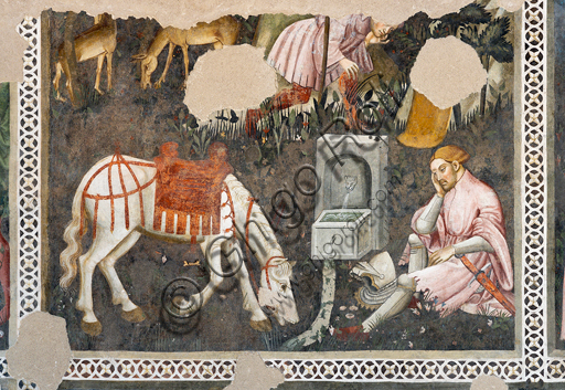 """Spoleto, Rocca Albornoz (Stronghold), Camera Pinta (Painted Room): detail of the frescoes realized between 1392 and 1416, representing courtly and chivalrous subject, made by local painters (with reference to the group connected to the Master of the Dormitio of Terni) or of Padanian origin. The paintings are based on the poem """"Teseida"""" by Boccaccio.Scene with a knight and a horse."""