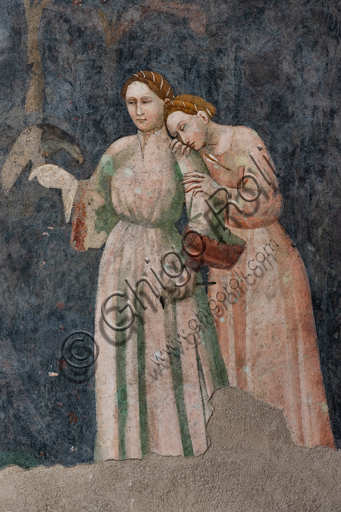 Spoleto, Rocca Albornoz (Stronghold), Camera Pinta (Painted Room): detail with two female figures of the frescoes realized between 1392 and 1416, representing courtly and chivalrous subject, made by local painters (with reference to the group connected to the Master of the Dormitio of Terni) or of Padanian origin.