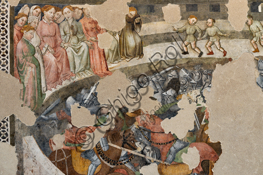 """Spoleto, Rocca Albornoz (Stronghold), Camera Pinta (Painted Room): detail of the frescoes realized between 1392 and 1416, representing courtly and chivalrous subject, made by local painters (with reference to the group connected to the Master of the Dormitio of Terni) or of Padanian origin. The paintings are based on the poem """"Teseida"""" by Boccaccio.Scene of a jousting tournament."""