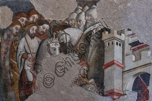 Spoleto, Rocca Albornoz (Stronghold), Camera Pinta (Painted Room): detail with knights and tower of the frescoes realized between 1392 and 1416, representing courtly and chivalrous subject, made by local painters (with reference to the group connected to the Master of the Dormitio of Terni) or of Padanian origin.