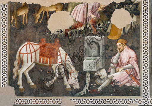"""Spoleto, Rocca Albornoz (Stronghold), Camera Pinta (Painted Room): detail of the frescoes realized between 1392 and 1416, representing courtly and chivalrous subject, made by local painters (with reference to the group connected to the Master of the Dormitio of Terni) or of Padanian origin. The paintings are based on the poem """"Teseida"""" by Boccaccio.Scene with a knught and a horse."""
