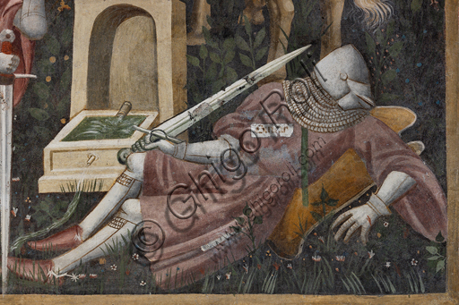 """Spoleto, Rocca Albornoz (Stronghold), Camera Pinta (Painted Room): detail of the frescoes realized between 1392 and 1416, representing courtly and chivalrous subject, made by local painters (with reference to the group connected to the Master of the Dormitio of Terni) or of Padanian origin. The paintings are based on the poem """"Teseida"""" by Boccaccio.Scene with a knight."""