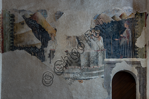"""Spoleto, Rocca Albornoz (Stronghold), Camera Pinta (Painted Room):  detail of frescoes representing courtly and chivalrous subject, Scene of the """"Bathing in the Fountain"""", fresco made by an unknown painter at the middle of the XV century. The frescoes are based on the poem """"Teseida"""" by Boccaccio."""