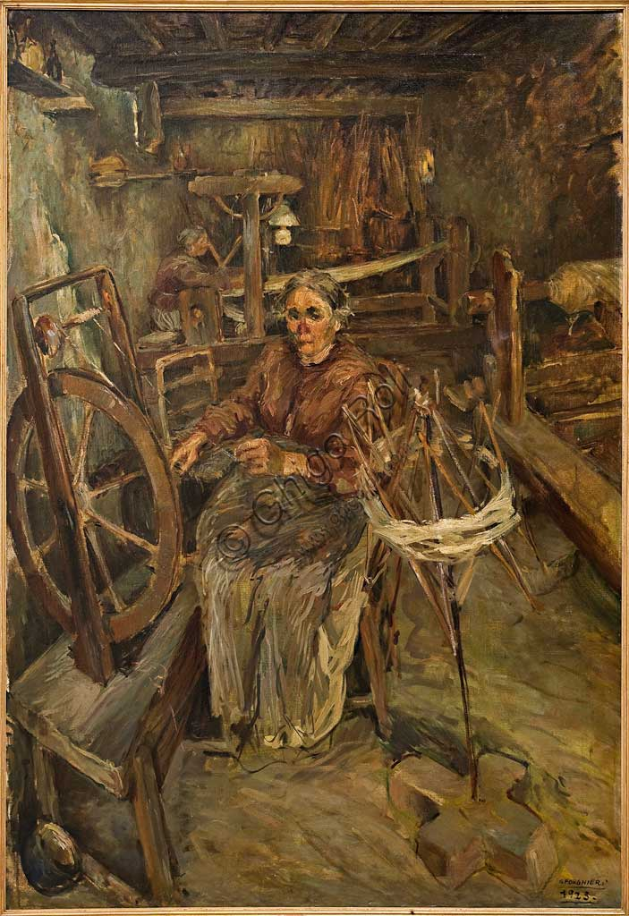 "Assicoop - Unipol Collection:   Giovanni Forghieri (1898 - 1944), ""Weaver"". oil on canvas, cm 151 x 101."