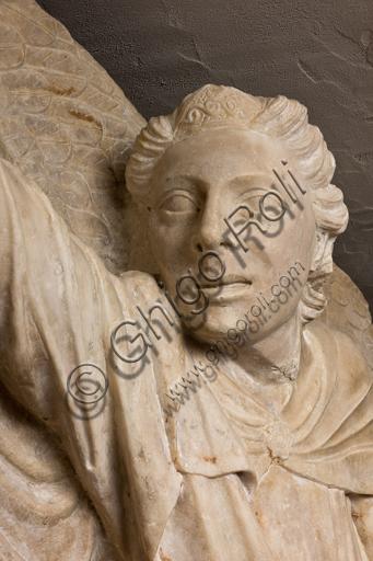 Genova, Museo Diocesano: monumento funerario del cardinale Luca Fieschi. È opera di della scuola di Giovanni di Balduccio da Pisa, 1336 circa.Particolare di testa di  angelo.