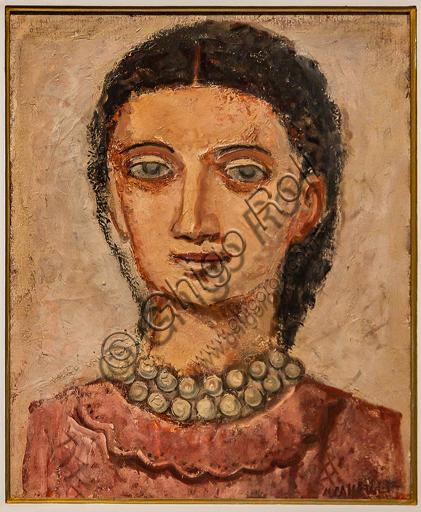 """Museo Novecento: """"Testa di donna"""", di Massimo Campigli (Max Ihlenfeld), 1932. Olio su tela."""
