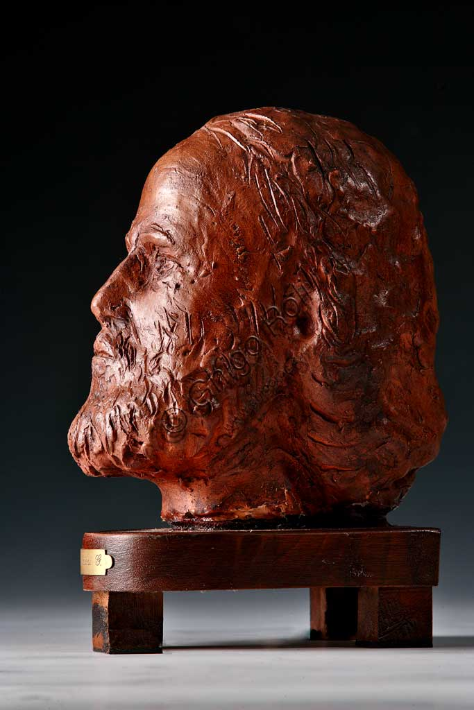"""Collezione Assicoop - Unipol: Anonimo (Giuseppe Graziosi?), """"Testa di Giuseppe Garibaldi"""". Terracotta."""