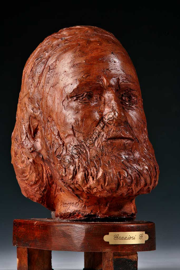 "Collezione Assicoop - Unipol: Giuseppe Graziosi (1879-1942), ""Testa di Giuseppe Garibaldi"". Terracotta."