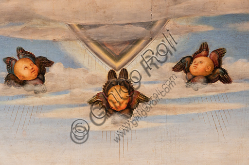 Perugia, Galleria Nazionale dell'Umbria: Pala Graziani, tempera e olio su tavola, di Pietro di Cristoforo Vannucci, detto il Perugino, 1517 circa. Particolare con teste di cherubini.