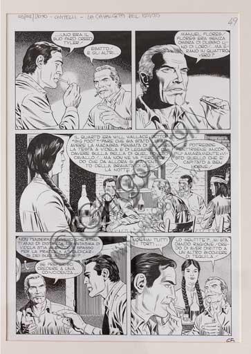 """Collezione Assicoop - Unipol,  inv. n° 484: Fabio Civitelli (Arezzo 1955); """"Tex: La cavalcata del morto"""", tavola originale, 42 x 29,7."""