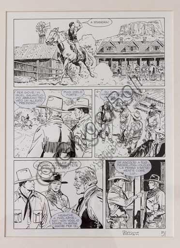 "Collezione Assicoop - Unipol, inv. n° 483: Bruno Brindisi  (Salerno 1964); ""Tex: Muddy Creek"", tavola originale, 39,8 x 30."