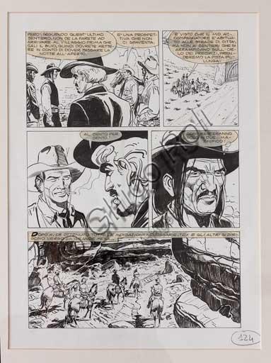 """Collezione Assicoop - Unipol, inv. n° 485: Roberto de Angelis  (Napoli 1959); """"Tex: Ombre della notte"""", tavola originale, 40 x 30."""