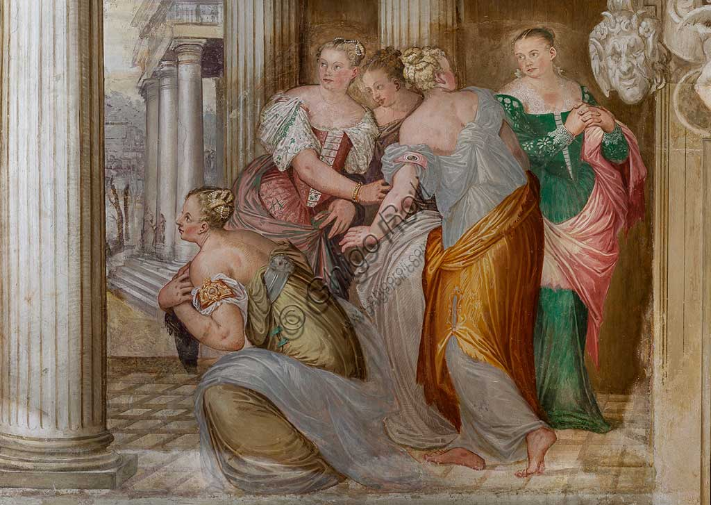 """Thiene, Villa Porto Colleoni (also known as Castle in Thiene), Camerone: """"The Clemency of Scipio"""", frescoes by Giovanni Antonio Fasolo (c. 1560-1565). Detail."""