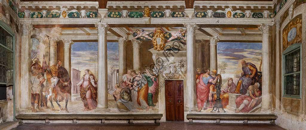 """Thiene, Villa Porto Colleoni (also known as Castle in Thiene), Camerone: """"The Clemency of Scipio"""", frescoes by Giovanni Antonio Fasolo (c. 1560-1565)."""