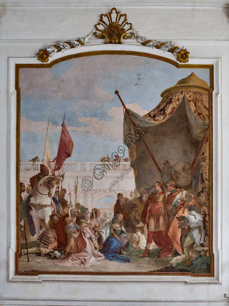 """Villa Cordellina, salone centrale: """"Continenza di Alessandro Magno"""", affresco di Giambattista Tiepolo, 1743."""