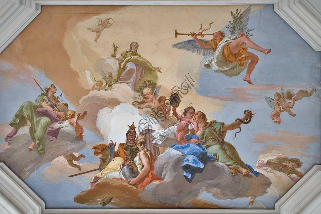 """Villa Cordellina, salone centrale: """"Continenza di Alessandro Magno"""" affresco di Giambattista Tiepolo (1743).Villa Loschi  Motterle (già Zileri e Dal Verme), sala d'onore, soffitto: """"La Gloria tra le Virtù"""" (la Fama, con la tromba, annuncia l'arrivo della Gloria, figura luminosa e dorata; la attorniano la Giustizia con spada e bilancia, la Fortezza con l'armatura, la Temperanza e la Prudenza con due volti), affresco di Giambattista Tiepolo (1734)."""