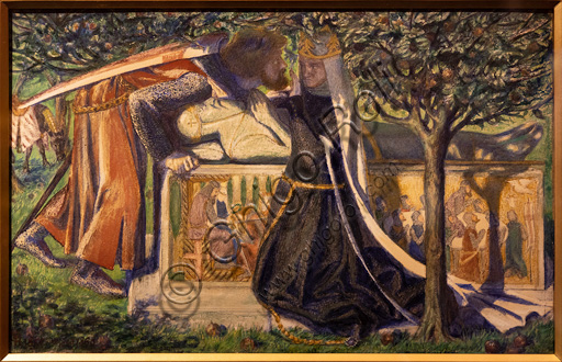 """Arthur's Death"", (1860) by Dante Gabriel Rossetti (1828-1882); watercolour on paper. The scene depicts Sir Lancelot, Queen Guinevere who has become a nun and King Arthur''s tomb."