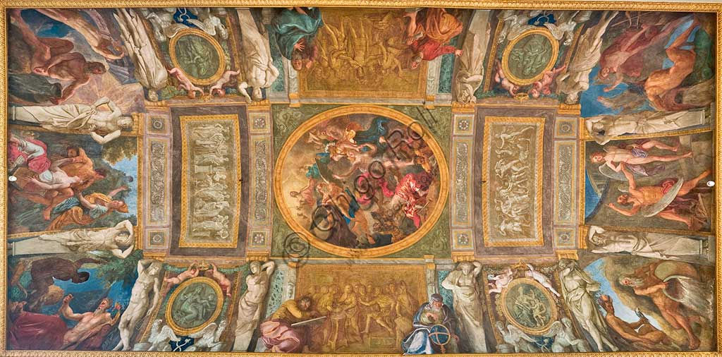 "Turin, the Royal Palace, the Royal Library,  the vault: ""Minerva delivers the Truth, persecuted by Time, to the protection of Jupiter"". Fresco by Laurent Pécheux, 1778 - 1784."