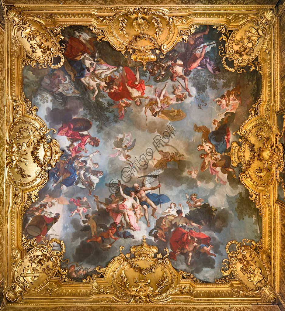 "Turin, the Royal Palace, the Queen's Chamber of Work (Great Cabinet): ""Allegory of human life, with the four ages, the Parcae and the Passions"". Fresco by Claudio Francesco Beaumont, 1731 - 33."