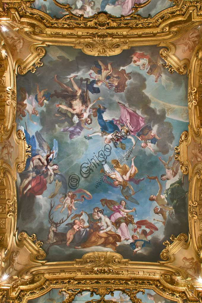 "Turin, the Royal Palace, the Royal Cabinet (Dressing Room): the ceiling with ""Hercules as personification of Virtue and Valour crowned by Justice"", or ""The Virtues of a Monarch"". Frescoes by Claudio Francesco Beaumont (1731-33)."