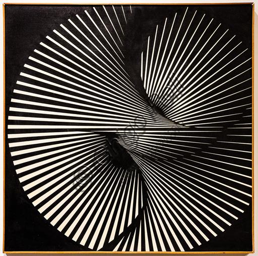 """Museo Novecento: """"Torsione radiale"""", di Franco Grignani, 1965. Olio su tela."""